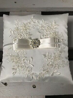 Ivory Wedding Ring Cushion Bearer Pillow Engagement Sparkly Lace Diamanté Pearls