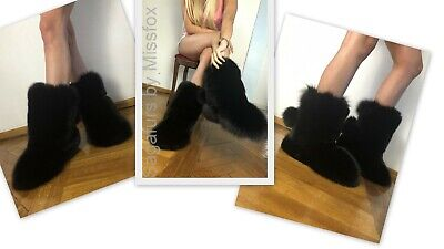Black fox fur boots. For inside wearing. 40-41size.With pompons.
