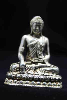 Collection Old China Handwork Miao Silver Carving Sitting Buddha Exorcism Statue