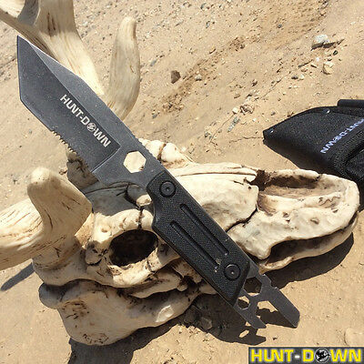 "9.5"" Fire Starter Hex Tool Full Tang Tanto Tip Survival Knife & Sheath -"