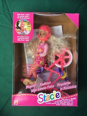 Vintage Barbie's Sister Stacie on Bicycle with Puppy Mattel 1996