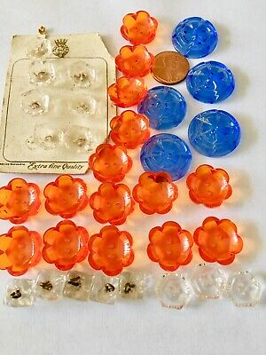 Mixed Lot Of 35 Vintage Faceted Czech Concave Crystal Bakelite Czechoslovakia