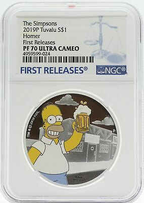 2019 Homer Simpson 1 oz Silver NGC PF70 Proof Coin Tuvalu $1 - JC451