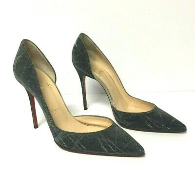0aab0b0dec0 CHRISTIAN LOUBOUTIN IRIZA 100 Metal D'Orsay Heels Pumps Shoes ...