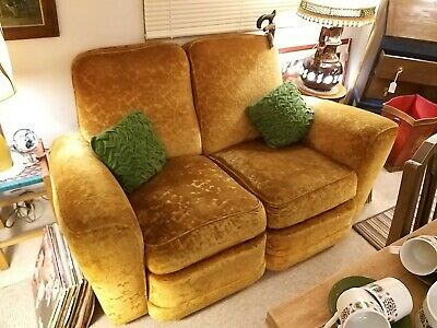 1940's Vintage 2 Seater Gold/Mustard Cocktail Bar Sofa & Club Armchair
