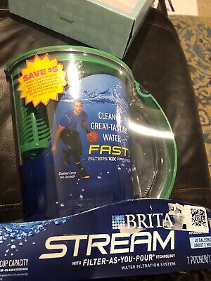 Brita 10 Cup Stream Filter as You Pour Water Pitcher with 1 Filter