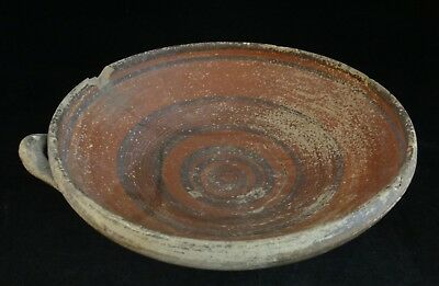 "Ancient Cypriot pottery bowl w/red slip glaze & rings. 1800 - 1200 BCE. 9"" dia"