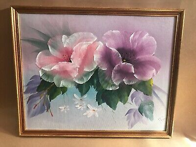 Beautiful Signed Oil Painting On Board Of Flowers In Gold Frame