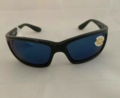 303841423caa Costa Del Mar Jose Shiny Black Frame Blue Mirror 580P Plastic Polarized  Lens New