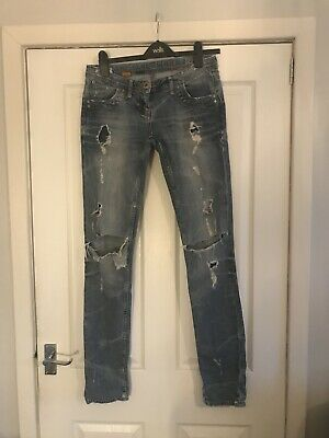 Blue Ripped River Island Jeans UK Size 8