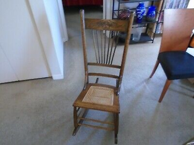 Antique Hand-Made American Cane Seat Oak Ladies Rocker Rocking Chair
