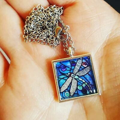 Unique DRAGONFLY NECKLACE blue STAINED GLASS turquoise HANDMADE insect NATURE
