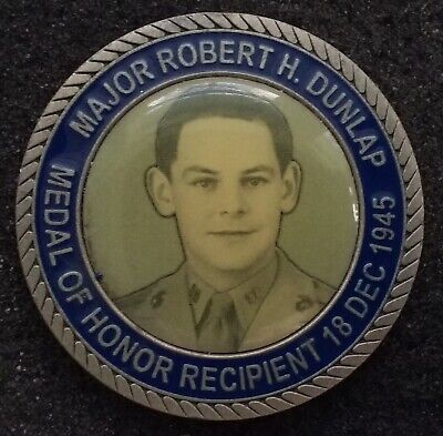 NEVER SEEN USMC Maj Dunlap WWII Marine Corps Medal of Honor MoH Challenge Coin