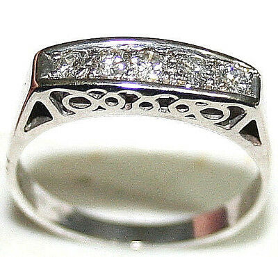 ANTIQUE ART DECO WHITE 14k GOLD .25ct DIAMOND 5 STONE HAND MADE FINE RING c1920