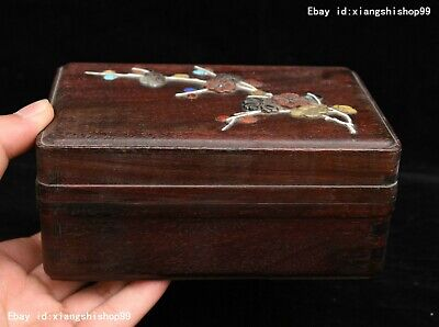 Chinese HuangHuaLi Wood handcrafted plum blossom casket Jewelry box jewel Boxes