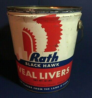 "Vintage Rath VEAL LIVER Tin Litho Pail  CANCO Advertising 8.5"" Tall IMMACULATE"