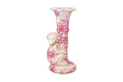 Porcelain Pink and White Monkey Candle Stick Holder 10.5""