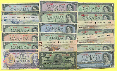 Canada 1937 to 1986  -  VERY NICE - BIG LOT  OF    20    BANKNOTES