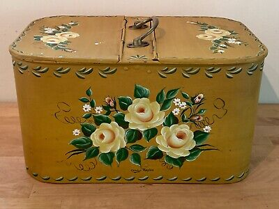 """Vintage Toleware Hand Painted Floral Tin Double Hinged Tinware Box LARGE 15""""x8"""""""