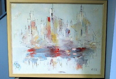 Large Mid-Century Modern Abstract of Tall Ship Acrylic by Istvan Varga (b. 1940)
