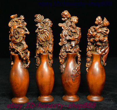 Chinese Boxwood plum blossoms orchid bamboo and chrysanthemum Flower Statue Set