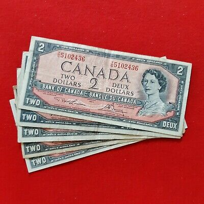 1954 - Canadian - 2 dollar bills  - $2 Notes - Ottawa - Bank of Canada -Lot of 5