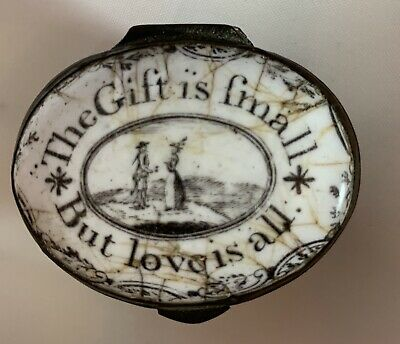 "Battersea Bilston Enamel Patch Box – ""The Gift Is Small But Love Is All"""