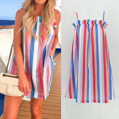 New Rainbow Striped Dress Summer Beach Sleeveless Sexy Vacation Mini Skirt
