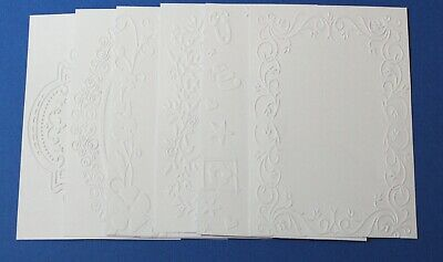 6 x White Embossed Cardstock Mixed Designs Card Toppers Assorted Frames