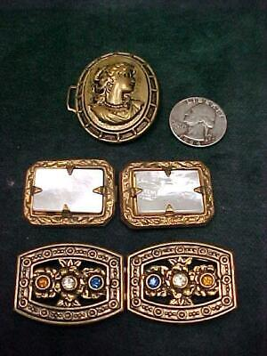 EDWARDIAN STAMPED BRASS BELT BUCKLES CAMEO MOTHER of PEARL RHINESTONES