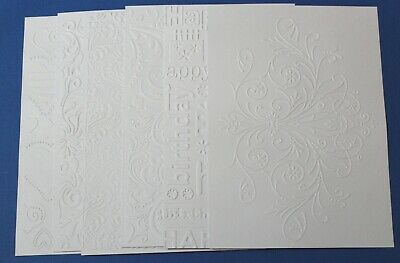 "6 x Large White Embossed Cardstock Card Toppers 5""x 7"" Flourish Birthday Hearts"