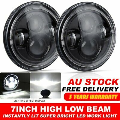 2x 7 Inch Round LED Headlights High Low DRL Halo for Jeep Wrangler JK CJ LJ TJ