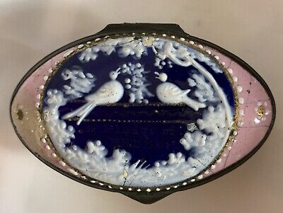 Bilston Battersea Enamel Box 18th century, Blue and Pink with doves