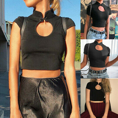 Fashion Women Sexy Solid Turtleneck Short Sleeve Button Hollow Out Crop Top Tee