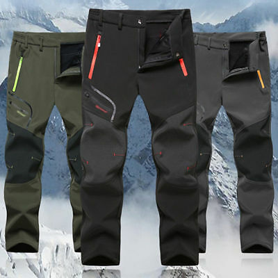 Mens Waterproof Hiking Trousers Thick Fishing Warm Fleece Outdoor Trekking Pants