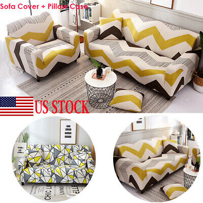 1/2/3/4 Seater Stretch Elastic Geometric Thick Sofa Cover Slipcover Couch Covers