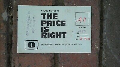 "ATV Channel 0 The Price is Right Admittance  Card 1973 ""Come on Down Glenys"""