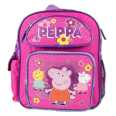 12'' New Peppa Pig Toddler School Backpack Canvas Girl's Book Bag Pink~Fast Ship