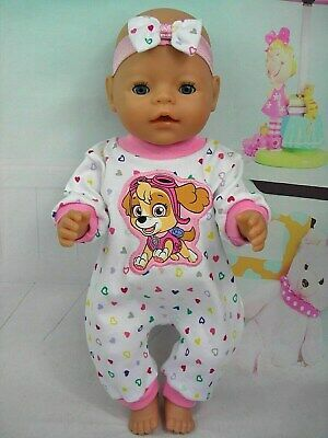 "Dolls clothes for17"" Baby Born/Cabbage patch Doll~PAW PATROL~SKYE HEART JUMPSUIT"