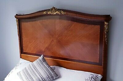 Beautiful French carved antique Mahogany bed frame and base. Stunning