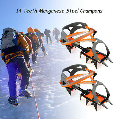 14-point Manganese Steel Climbing Gear Crampon Ice Grippers Traction Pro B3Z3