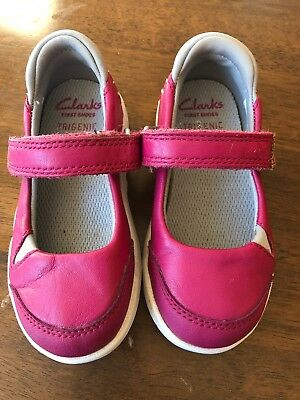 Clarks First Shoes Trigenic Pink Girls Size 4.5f
