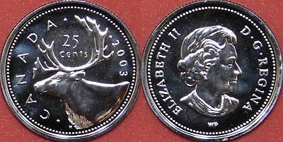 Proof Like 2003WP Canada 25 Cents From Mint's Set