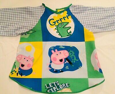 Blue & Green Peppa Pig Art Smock Age 2-4 Perfect For Home Or Kindy