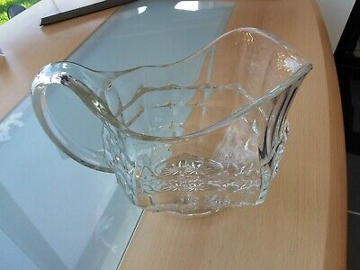 Large Heavy Vintage Patterned Cut Glass Jug