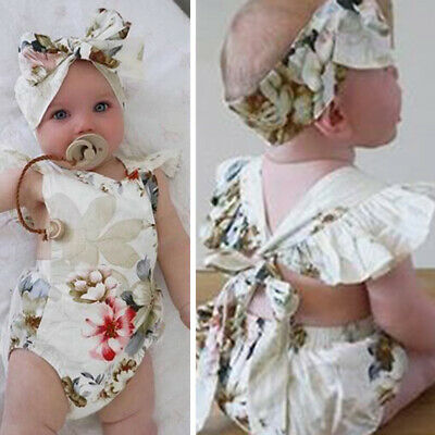 Baby Romper Infants Lace Up Bodysuit Fashion Overall Newborn Hollow Out Headband
