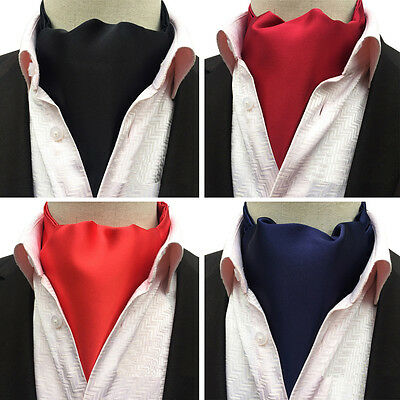 Men Classic Solid Color Long Scarves Cravat Ascot Ties Gentlemen Neckties HZ233