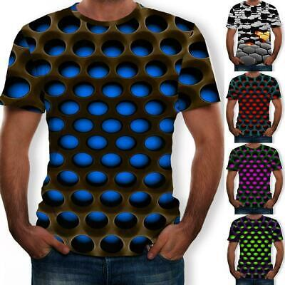 UK Mens Womens 3d Digital Print T-shirt Round Neck Loose Short-sleeve Shirts