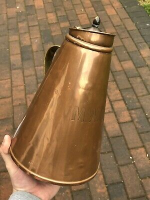 VERY RARE EARLY MWR MID-WALES RAILWAY WAS BENSON COPPER WATER JUG w HORN FINIAL