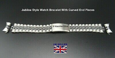 Stainless Steel Jubilee Bracelet With Curved Fits RLX 18mm 20mm 22mm